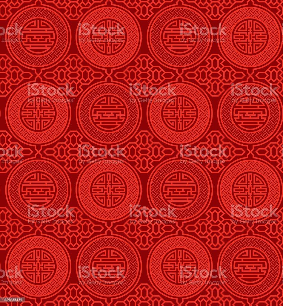Shou and cai / Variation 1 (Seamless, oriental pattern) vector art illustration