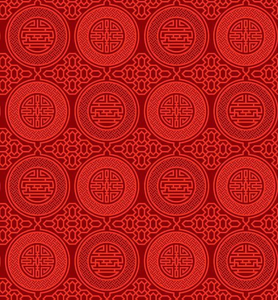 stockillustraties, clipart, cartoons en iconen met shou and cai / variation 1 (seamless, oriental pattern) - chinese cultuur