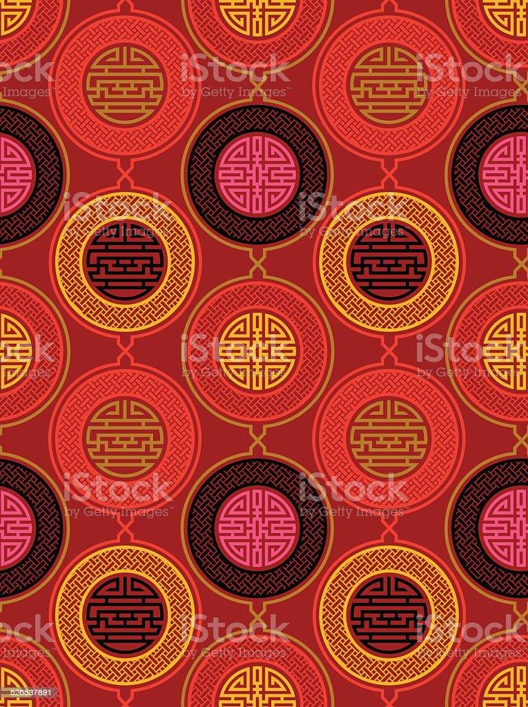 Shou and cai / Variation 3 (Seamless, oriental pattern) vector art illustration