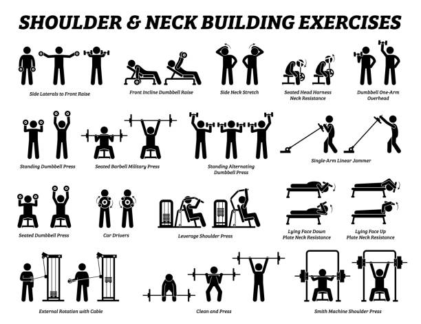 Shoulder and neck building exercise and muscle building stick figure pictograms. Set of weight training reps workout for shoulder and neck by gym machine tools with instructions and steps. exercise machine stock illustrations