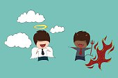 Shoulder devil and angel Childish drawing businessman of cute devil and angel with flames and clouds, drawing by hand vector