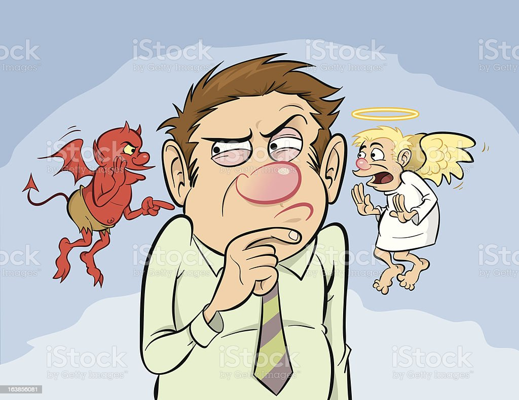 Shoulder Devil and Angel A depiction of the classic shoulder devil and angel concept.  A man in a dress shirt and tie contemplates his decision as a tiny devil and a tiny angel, floating near his shoulders, try to influence his verdict. Adult stock vector