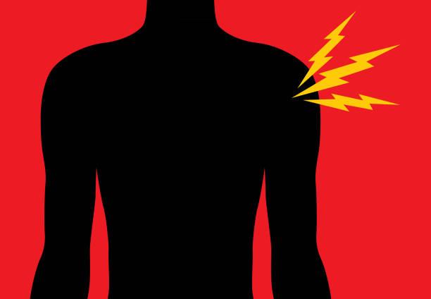 ilustrações de stock, clip art, desenhos animados e ícones de shoulder pain icon - tronco nu