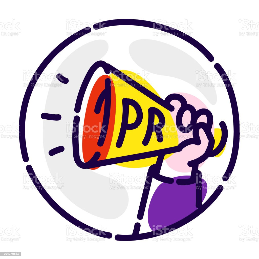 A Shout A Megaphone In His Hand Vector Flat Icon Advertising And Pr