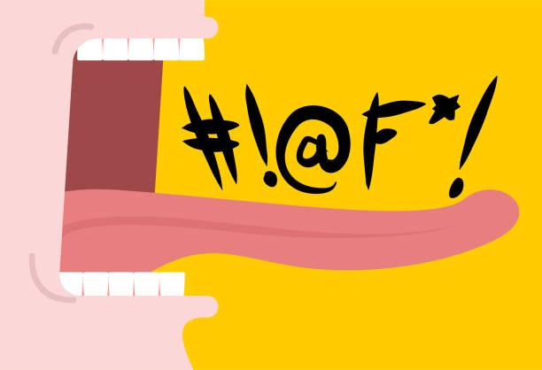 ilustrações de stock, clip art, desenhos animados e ícones de shout swearing words. cry open mouth. teeth and tongue. foul language - furioso