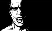 Black and white illustration of a shouting man.