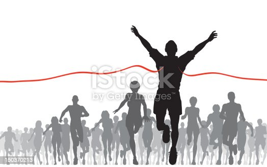 Editable vector illustration of a man winning a race. Hi-res jpeg file included.