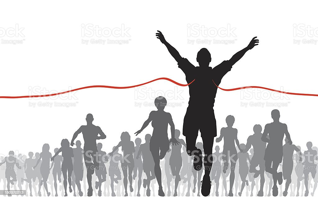 A shouters of a person crossing a finish line at a race vector art illustration
