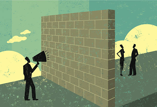 shouting at a brickwall - communication problems stock illustrations, clip art, cartoons, & icons