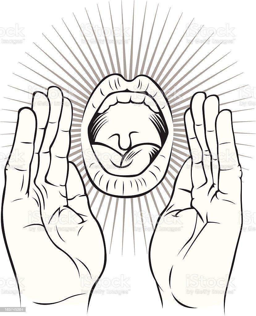 Shouting mouth vector art illustration