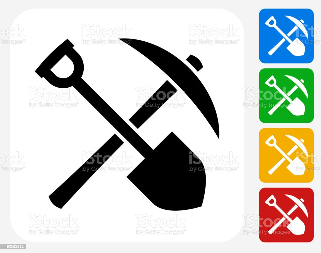 Shovel and Axe Icon Flat Graphic Design vector art illustration