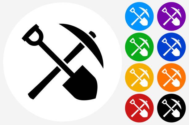 bildbanksillustrationer, clip art samt tecknat material och ikoner med shovel and axe icon on flat color circle buttons - mining