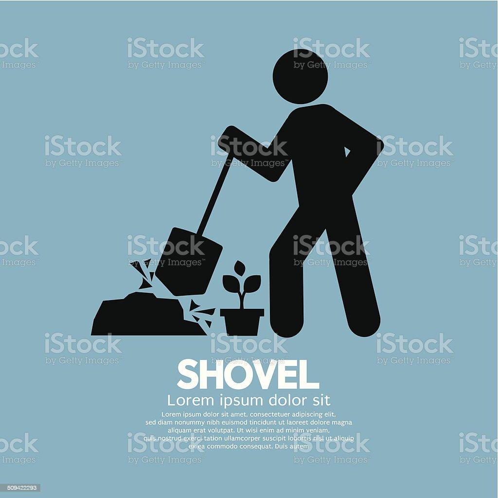 Shovel And Gardener Symbol Vector Illustration vector art illustration
