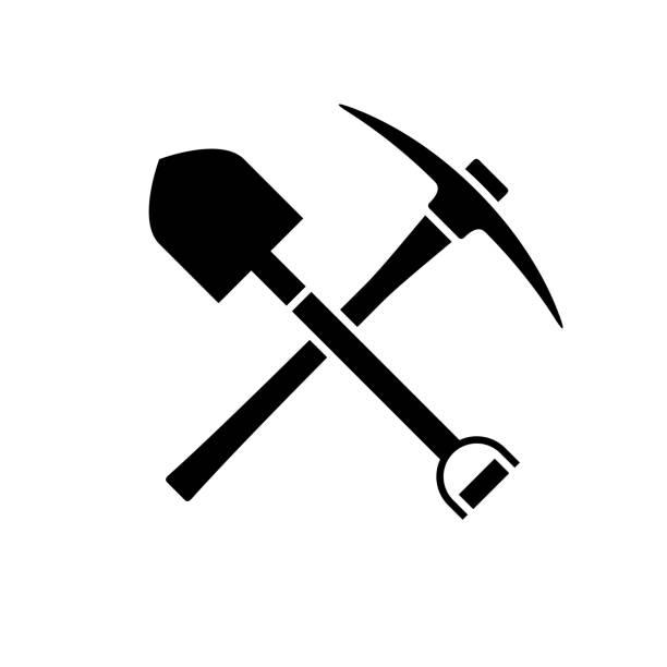 bildbanksillustrationer, clip art samt tecknat material och ikoner med spade och yxa ikonen. svart ikon isolerad på vit bakgrund. - mining