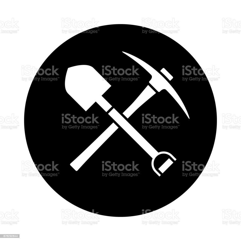 Shovel and pickaxe icon. Black icon isolated on white background. vector art illustration