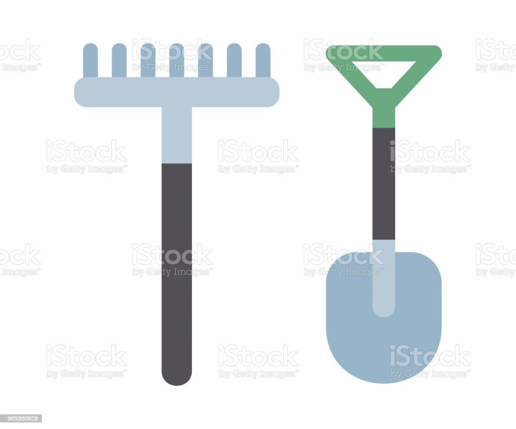 Shovel and rake icon shovel and rake icon - stockowe grafiki wektorowe i więcej obrazów gospodarstwo royalty-free
