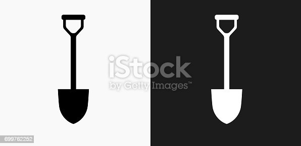 Shovel Icon on Black and White Vector Backgrounds. This vector illustration includes two variations of the icon one in black on a light background on the left and another version in white on a dark background positioned on the right. The vector icon is simple yet elegant and can be used in a variety of ways including website or mobile application icon. This royalty free image is 100% vector based and all design elements can be scaled to any size.