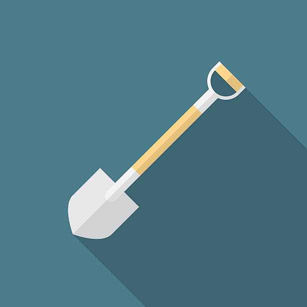 Shovel icon with long shadow. Flat design style. vector art illustration
