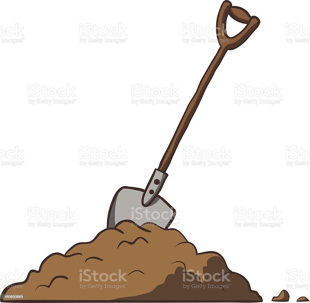Shovel in dirt. Vector cartoon freehand illustration. vector art illustration