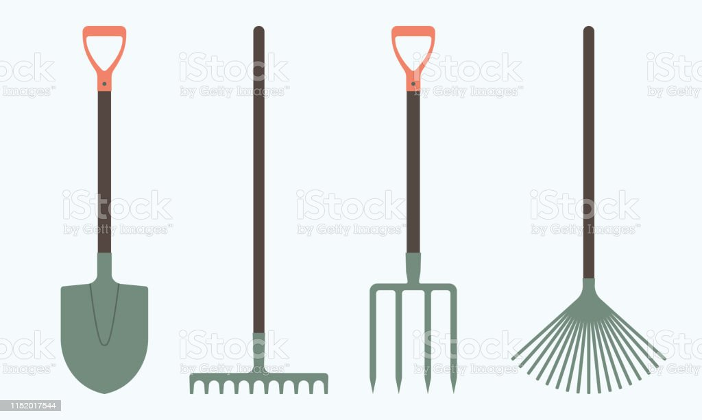 Shovel Or Spade Rake And Pitchfork Icons Isolated On White ...