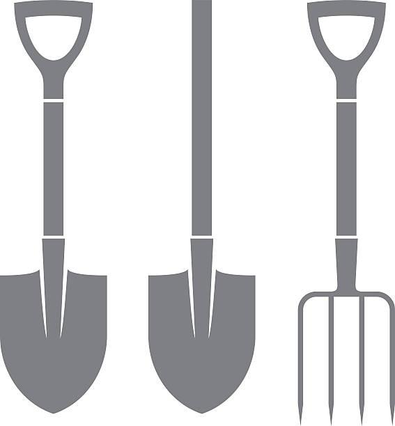 Shovel. Pitchfork. Icon set (EPS) + ZIP - alternate file (CDR)  pitchfork agricultural equipment stock illustrations