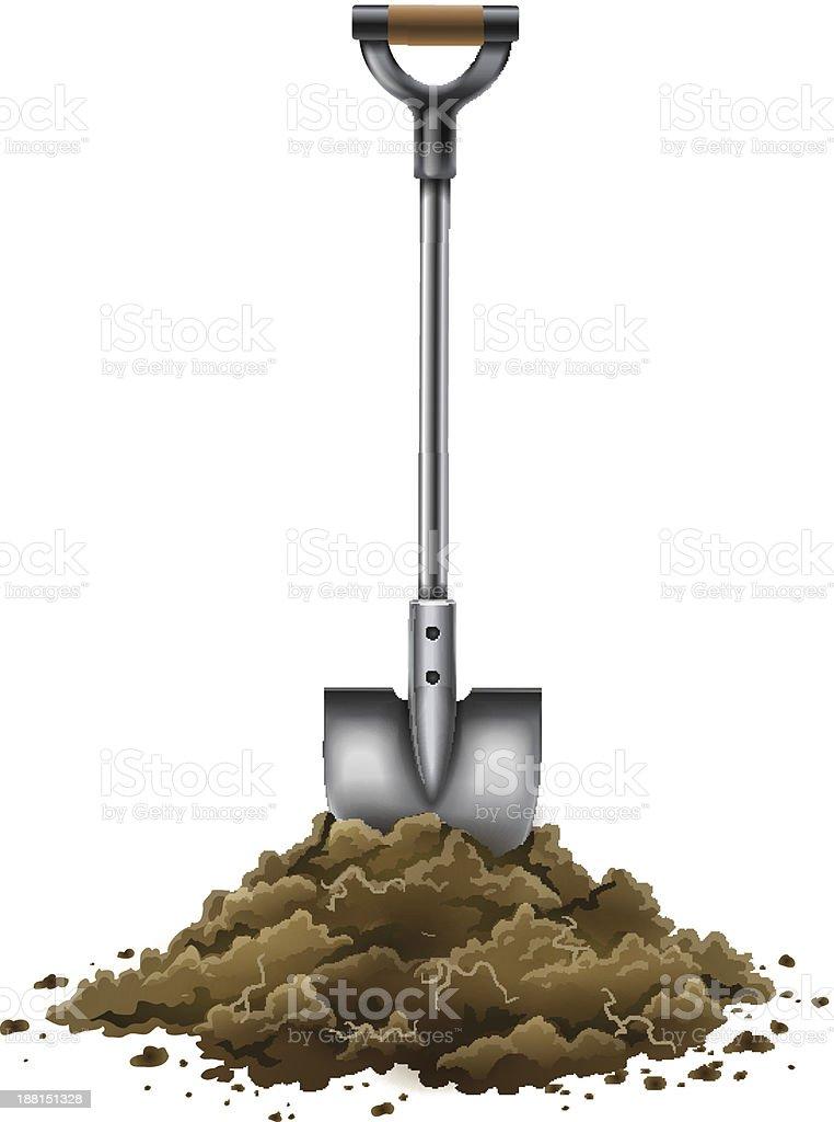 shovel tool for gardening work in ground isolated on white vector art illustration
