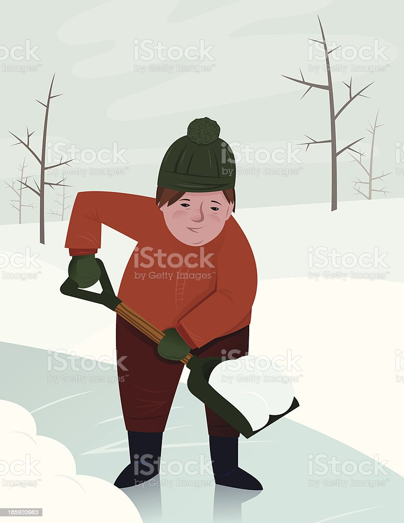 shoveling snow stock vector art more images of cartoon 165920983