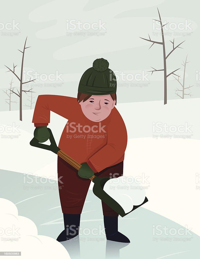 Shoveling Snow vector art illustration