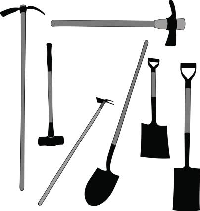 Shovels and Pick Axe - Garden Tools