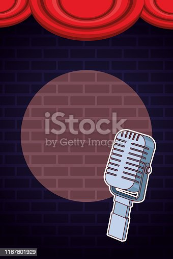 Show and theater vintage microphone on stage vector illustration graphic design