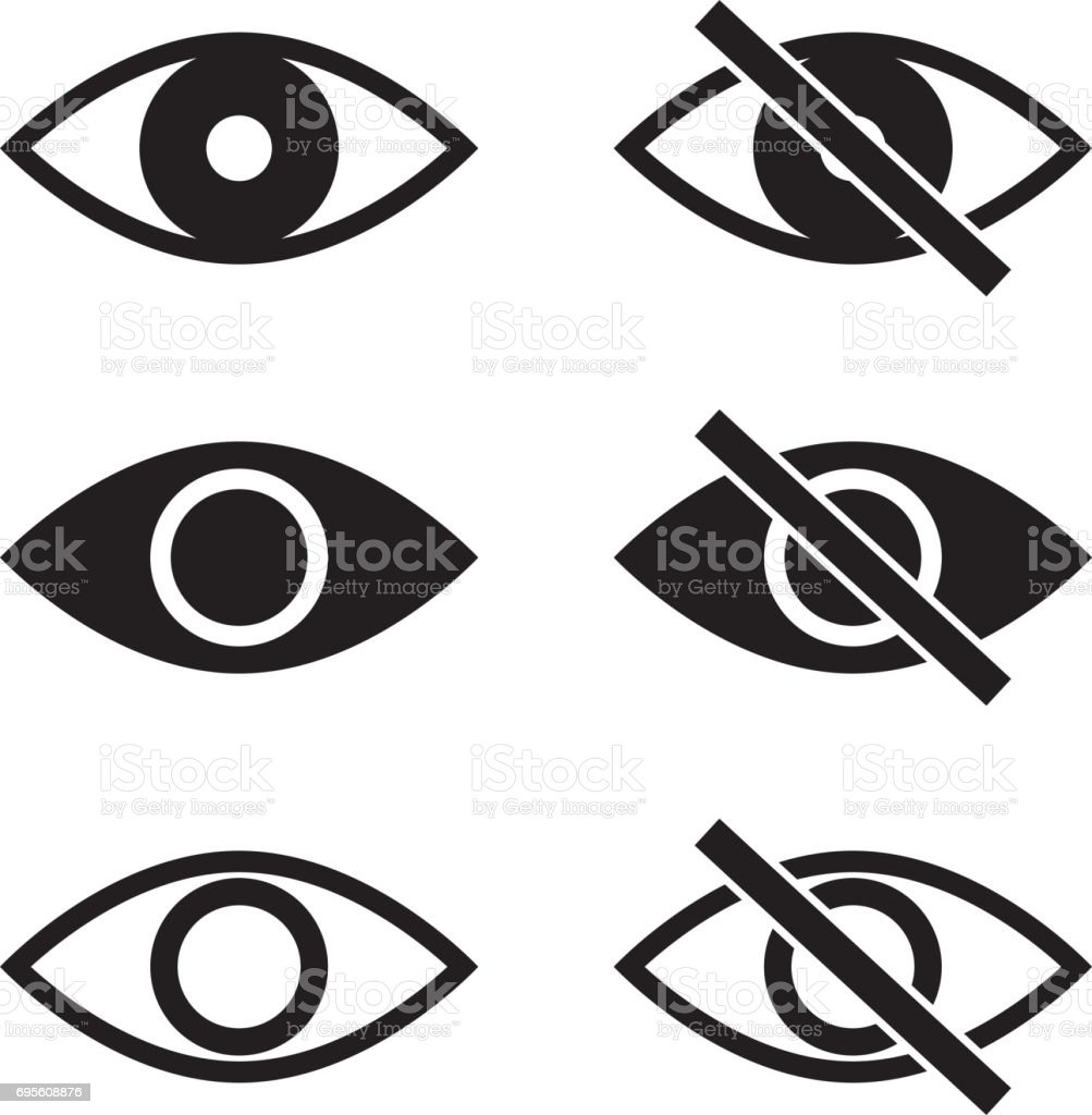 Show Hide Blind Eye Vector Icons vector art illustration
