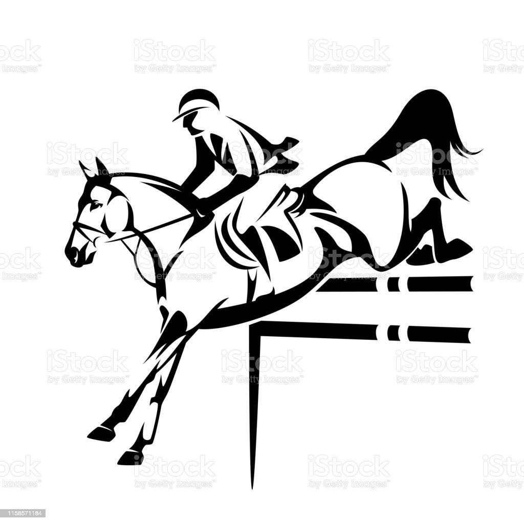 Show Jumping Horse And Rider Black Vector Outline Stock Illustration Download Image Now Istock