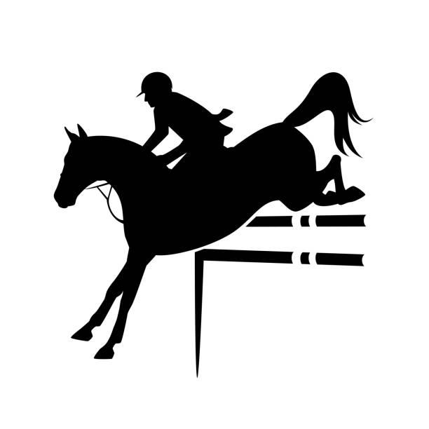 bildbanksillustrationer, clip art samt tecknat material och ikoner med visa hoppning sport svart vektor silhuett emblem - häst tävling