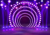 Show light podium purple background. Vector illustration