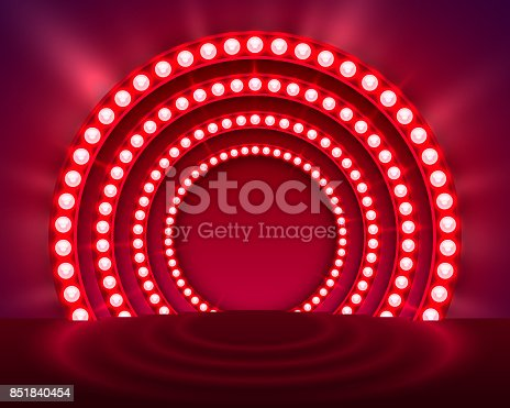 Show light podium red background. Vector illustration