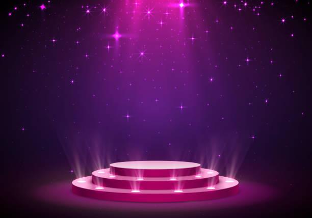 光の表彰台、赤表示します。 - ステージ点のイラスト素材/クリップアート素材/マンガ素材/アイコン素材