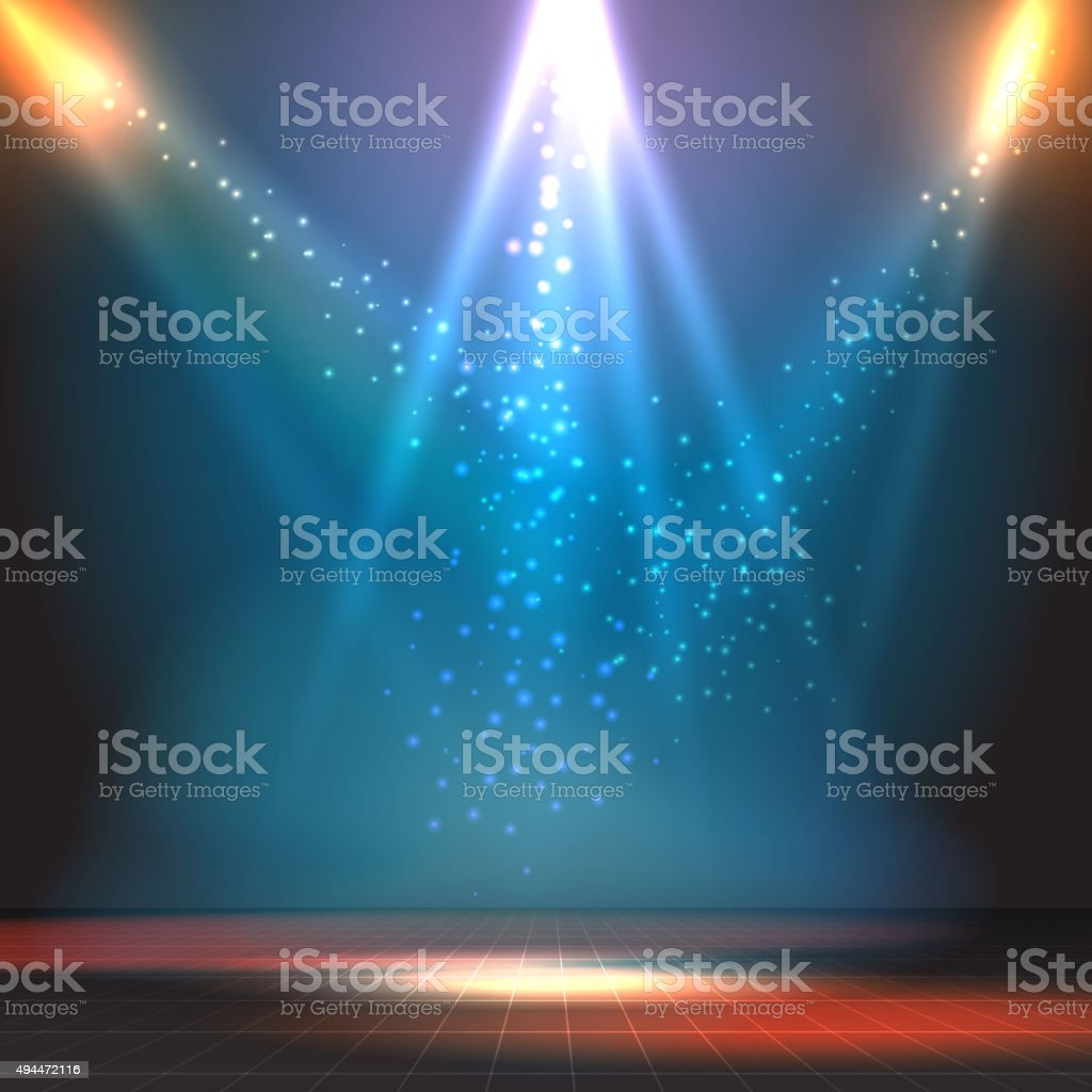Show or dance floor vector background with spotlights vector art illustration