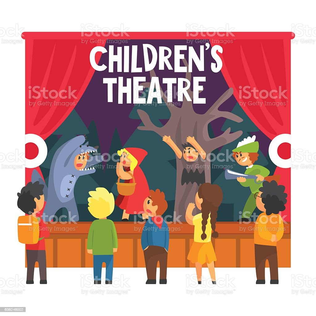 Show Scene With Wolf And Hunter Performed By Kids vector art illustration