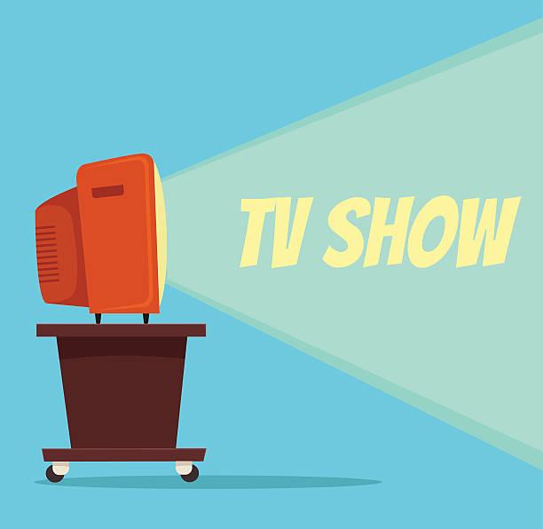 TV show. Vector flat cartoon illustration TV show. Vector flat cartoon illustration watching tv stock illustrations