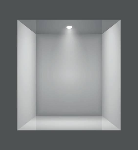 Show window of shop. Glass empty show window of shop. Vector illustration. showroom stock illustrations
