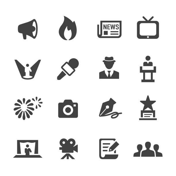 stockillustraties, clipart, cartoons en iconen met showbiz and entertainment icons - acme series - journalist