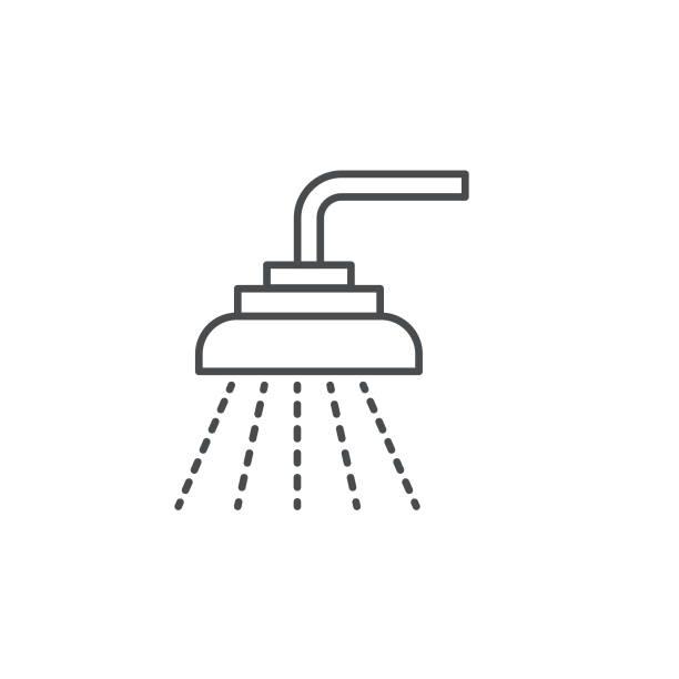 stockillustraties, clipart, cartoons en iconen met douche en bad dunne lijn vastgoed icon set - douche