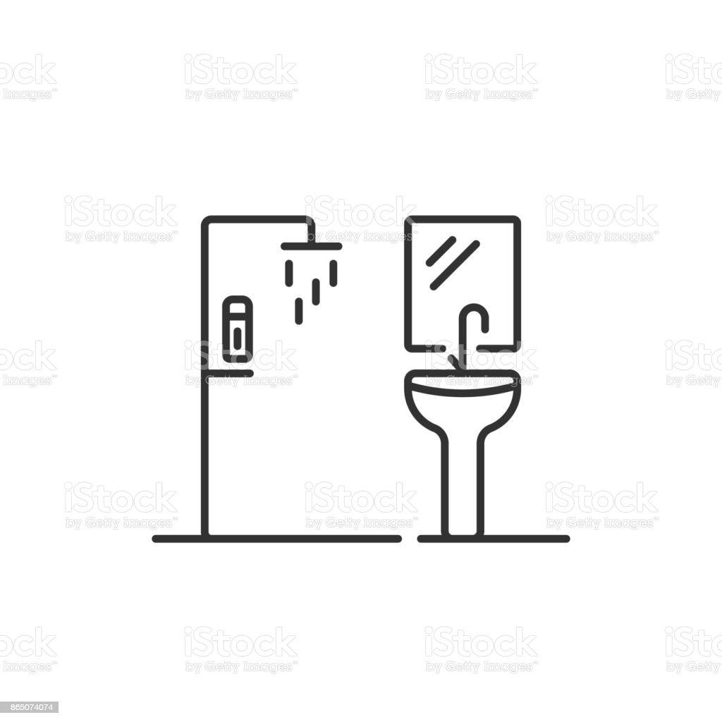 shower and washbasin thin line icon vector art illustration