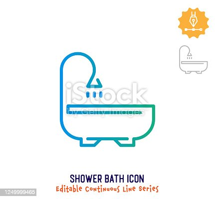 istock Shower Bath Continuous Line Editable Icon 1249999465