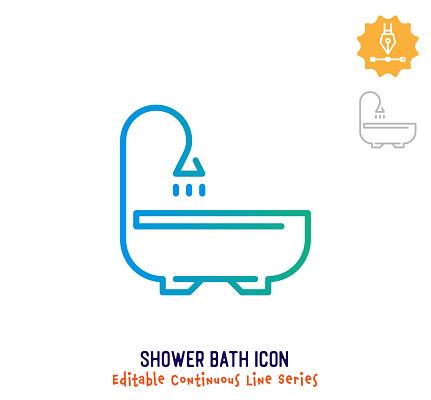 Shower Bath Continuous Line Editable Icon