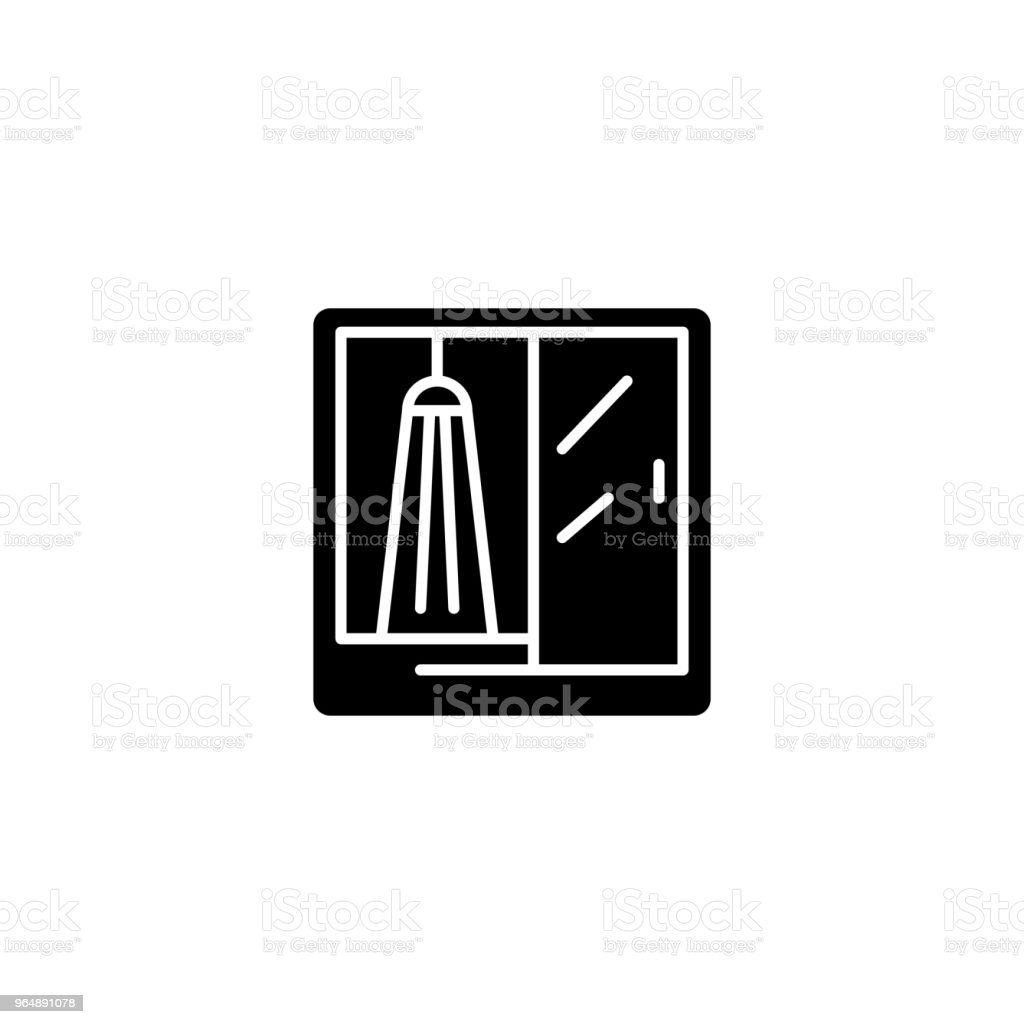 Shower booth black icon concept. Shower booth flat  vector symbol, sign, illustration. royalty-free shower booth black icon concept shower booth flat vector symbol sign illustration stock vector art & more images of art