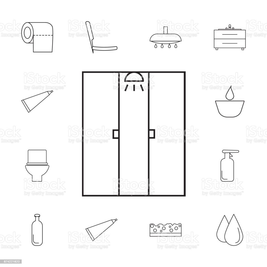 Shower Cabin Icon Set Of Bathroom Icons Signs Outline Symbols ...