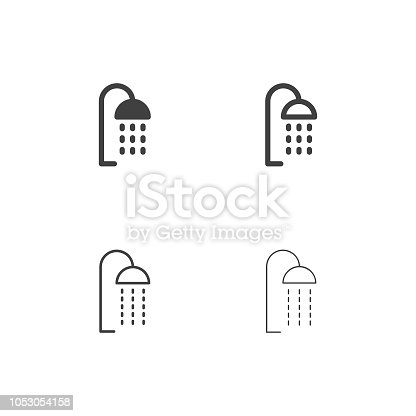 Shower Head Icons Multi Series Vector EPS File.