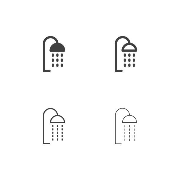 stockillustraties, clipart, cartoons en iconen met douche hoofd icons - multi-serie - douche