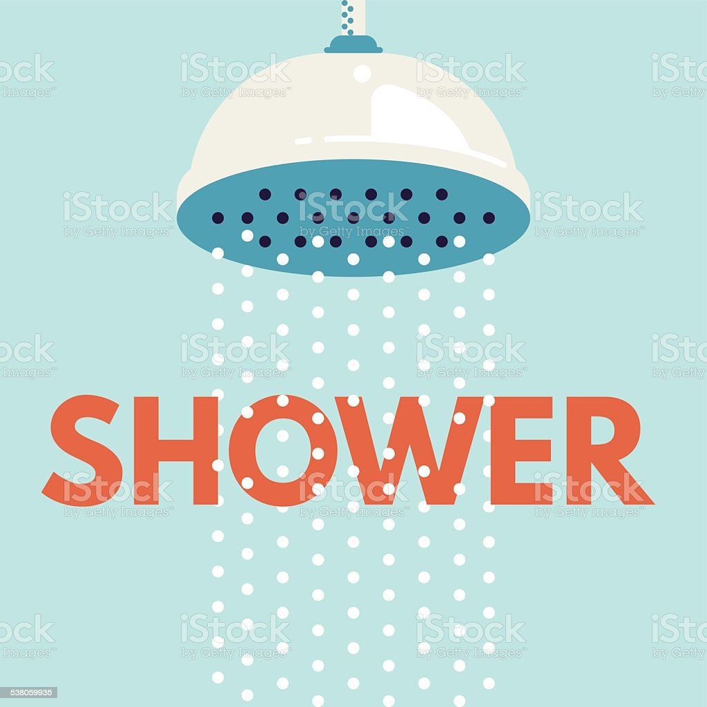 Shower head in bathroom with water drops flowing vector art illustration